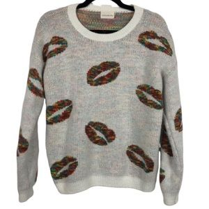 Dreamers Rainbow Lips Eyelash Knit Sweater